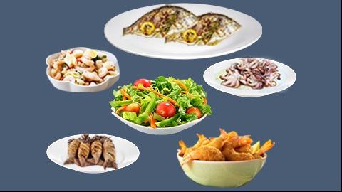 Sallatë e ftohtë, oktapod, kallamar, 2 koc, karkalec zgare, sallatë jeshile e marinuar