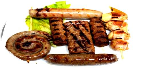 Kërnace, grill salçiçe, llukanik fshati, shishqebap, speciale djathi, peskaviça
