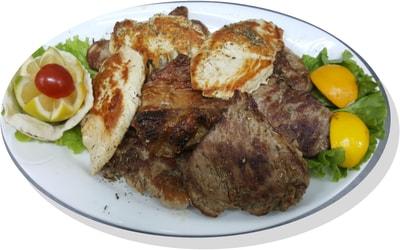 Mish qingji, byftek viçi, bërxollë viçi, fileto gici, bërxollë gici, fileto pule për 3 ose 4 persona 1300 gram