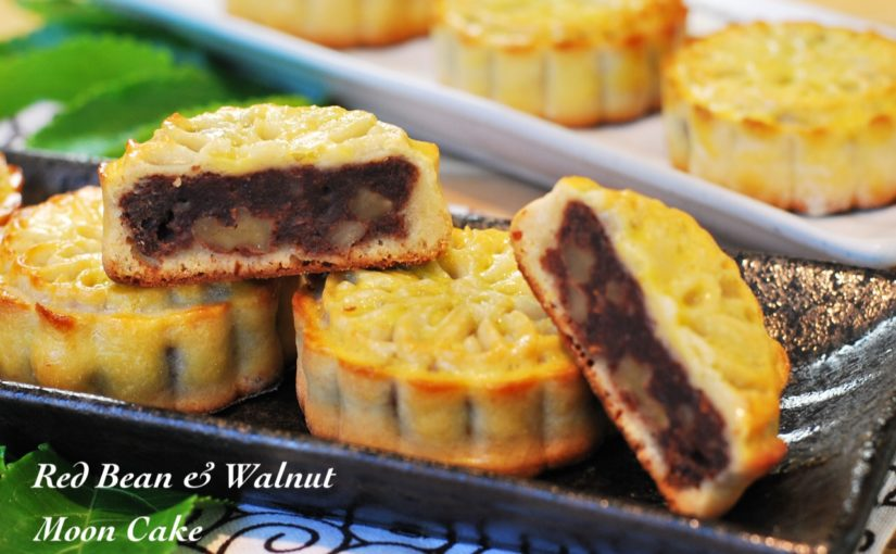 Red bean walnut moon cake 825x510