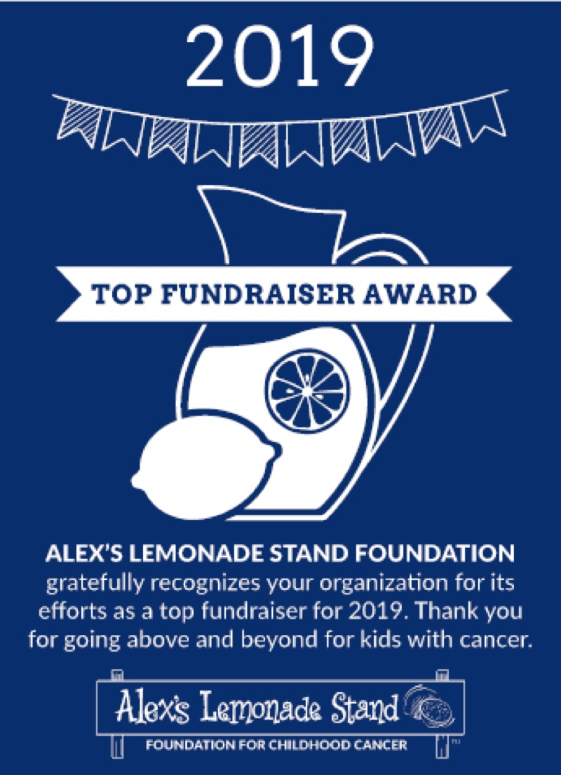 Alex's Lemonade Stand 2019 award