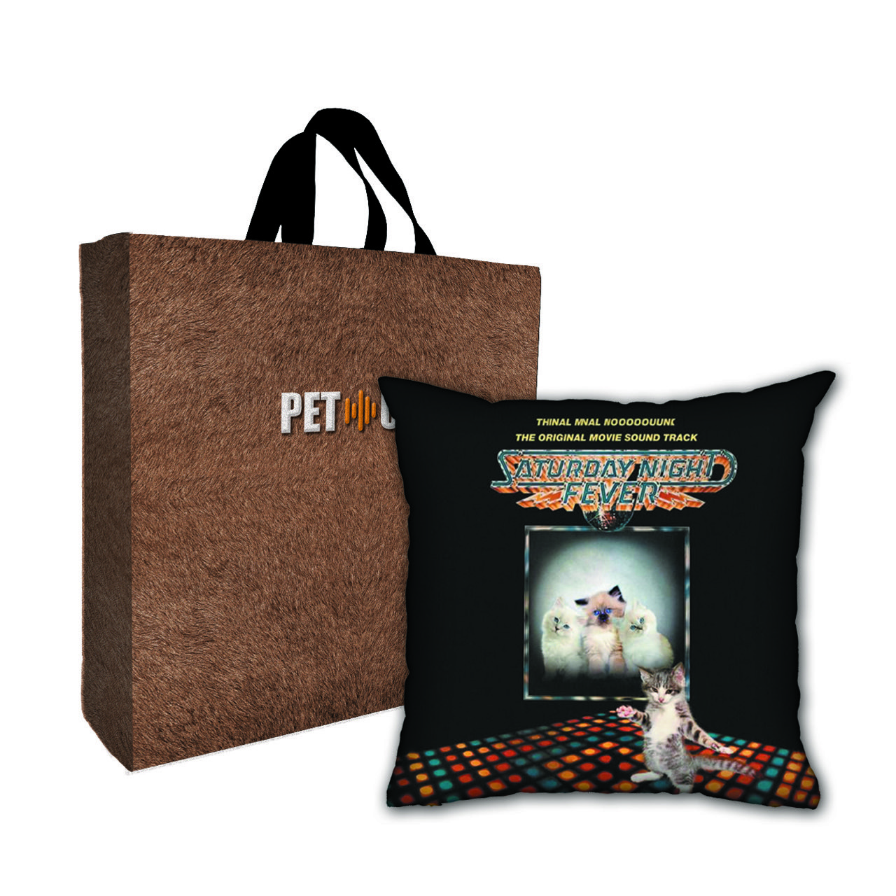 Kit Almofada & Sacola Bege Pet Use - Cat Fever - Gato
