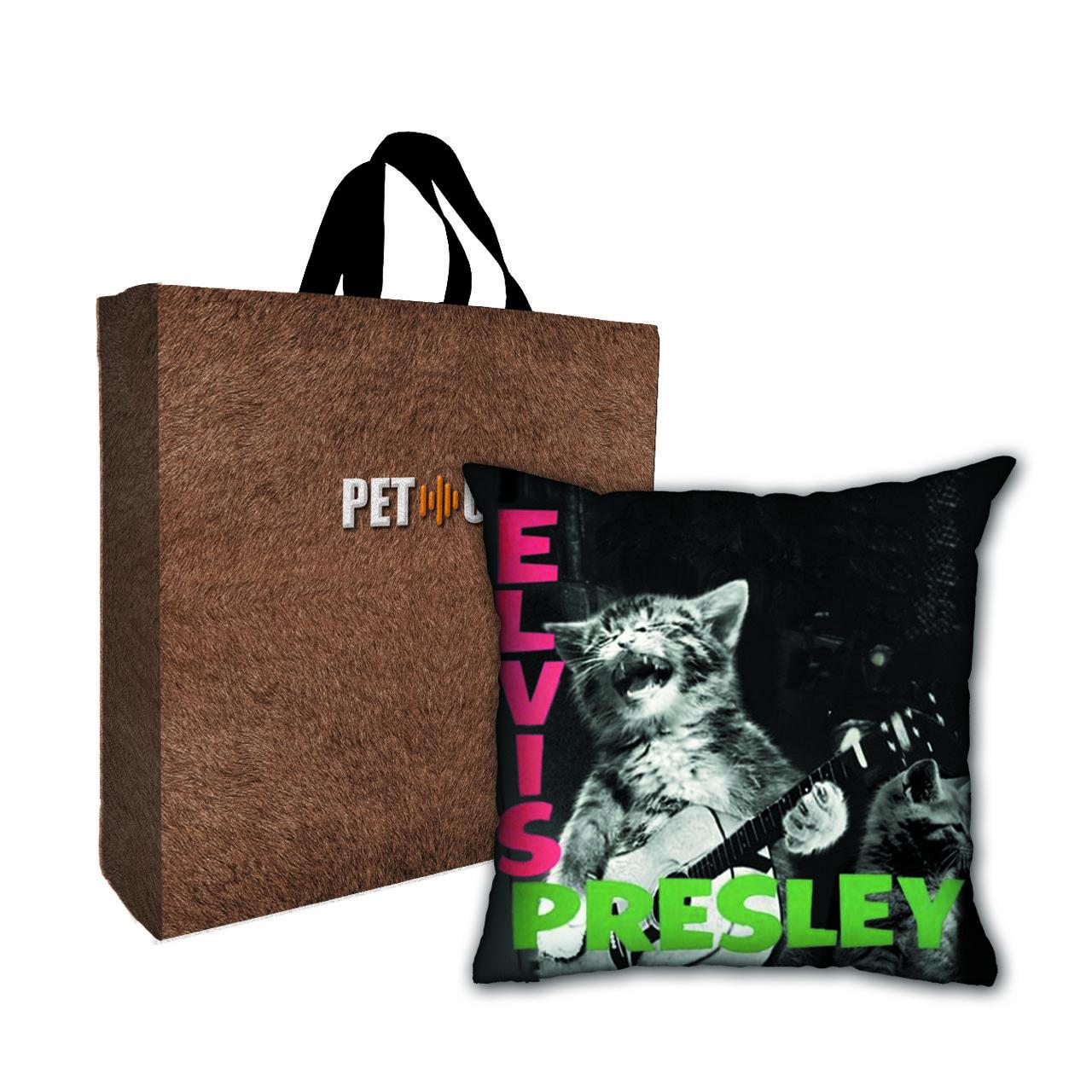 Kit Almofada & Sacola Bege Pet Use - Cat Presley - Gato