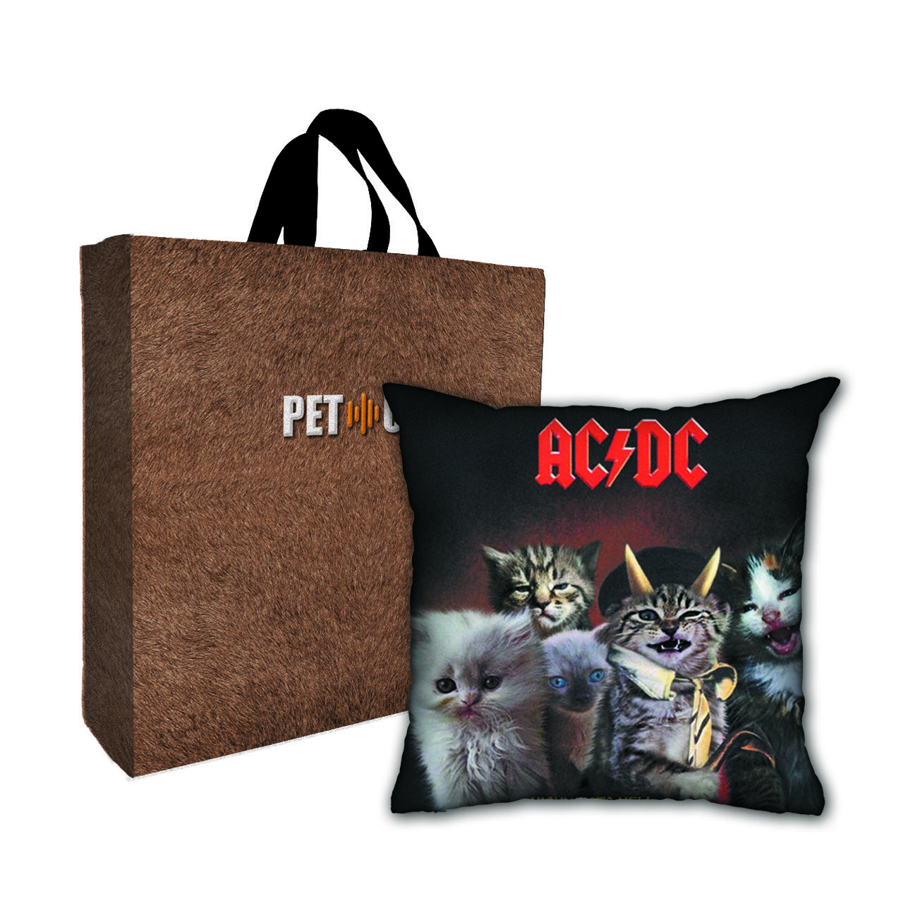 Kit Almofada & Sacola Bege Pet Use - Catway to Hell - Gatos