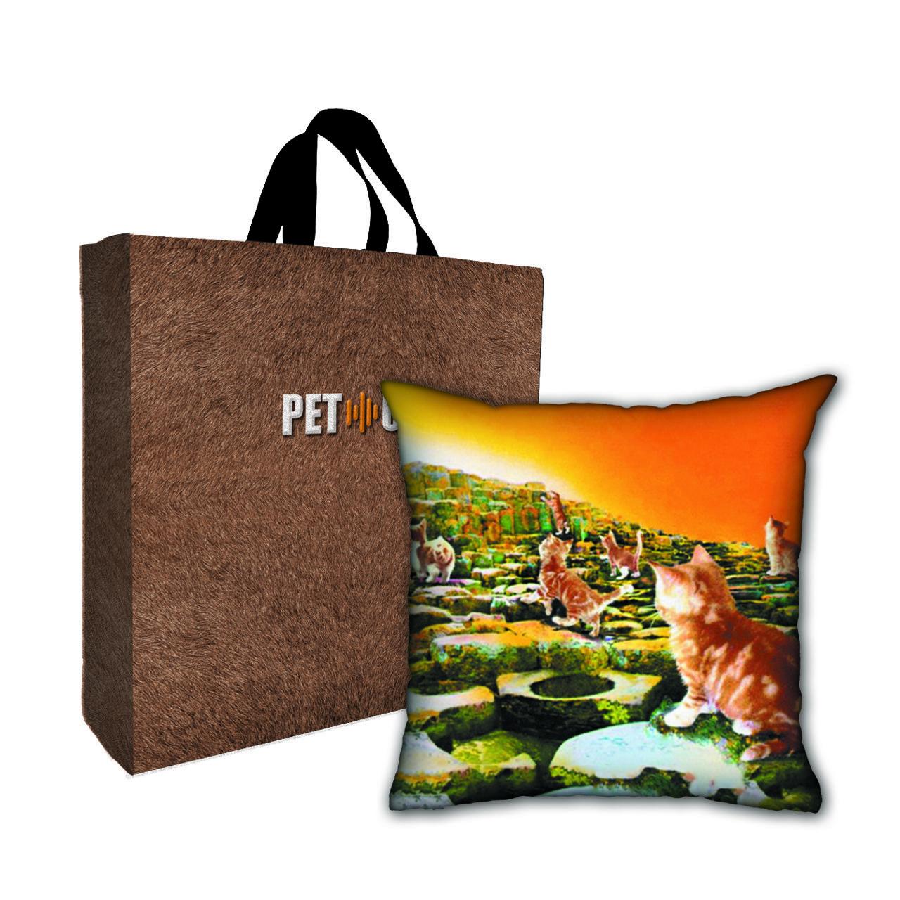 Kit Almofada & Sacola Bege Pet Use - Houses of the Cats - Gatos