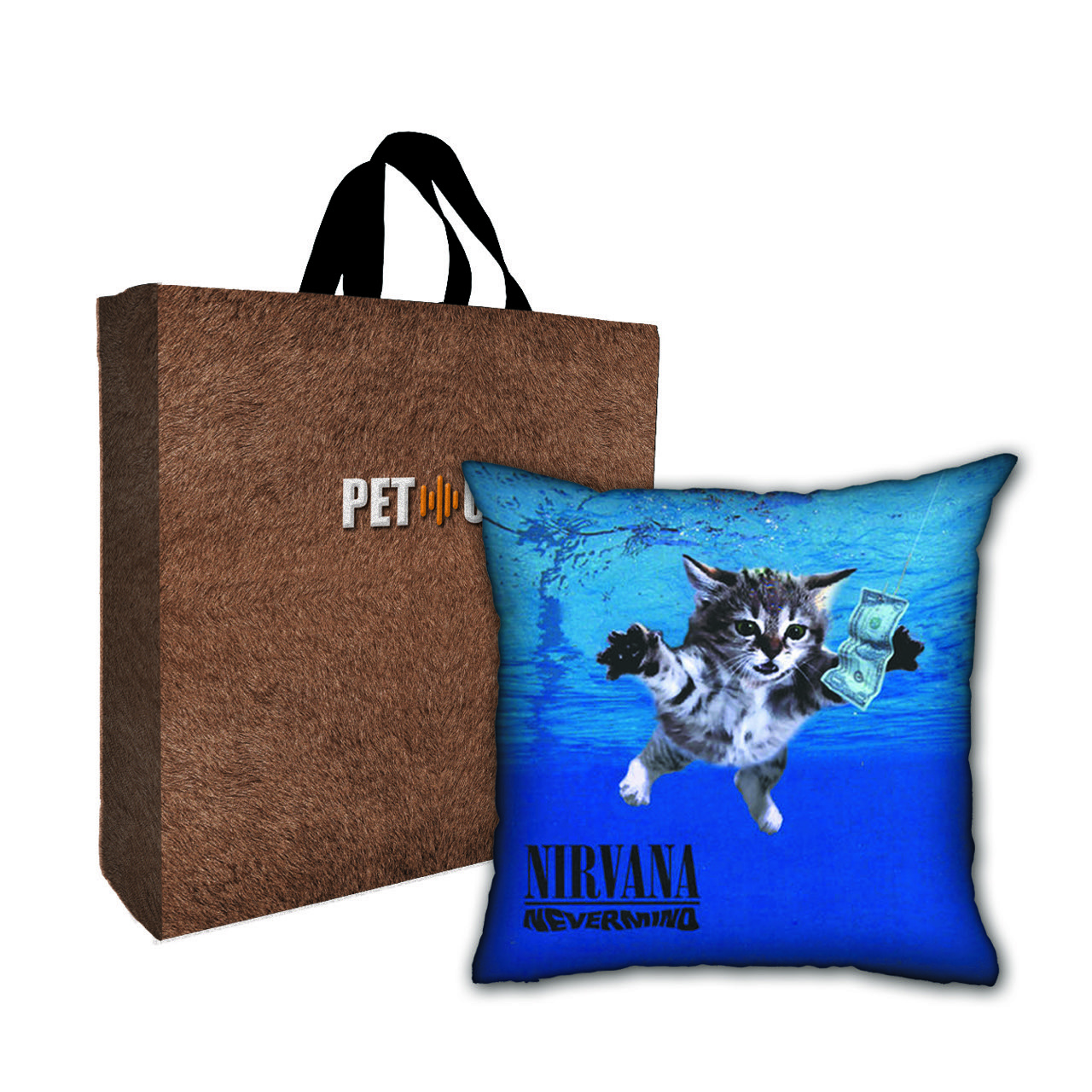 Kit Almofada & Sacola Bege Pet Use - Nevercat - Gato