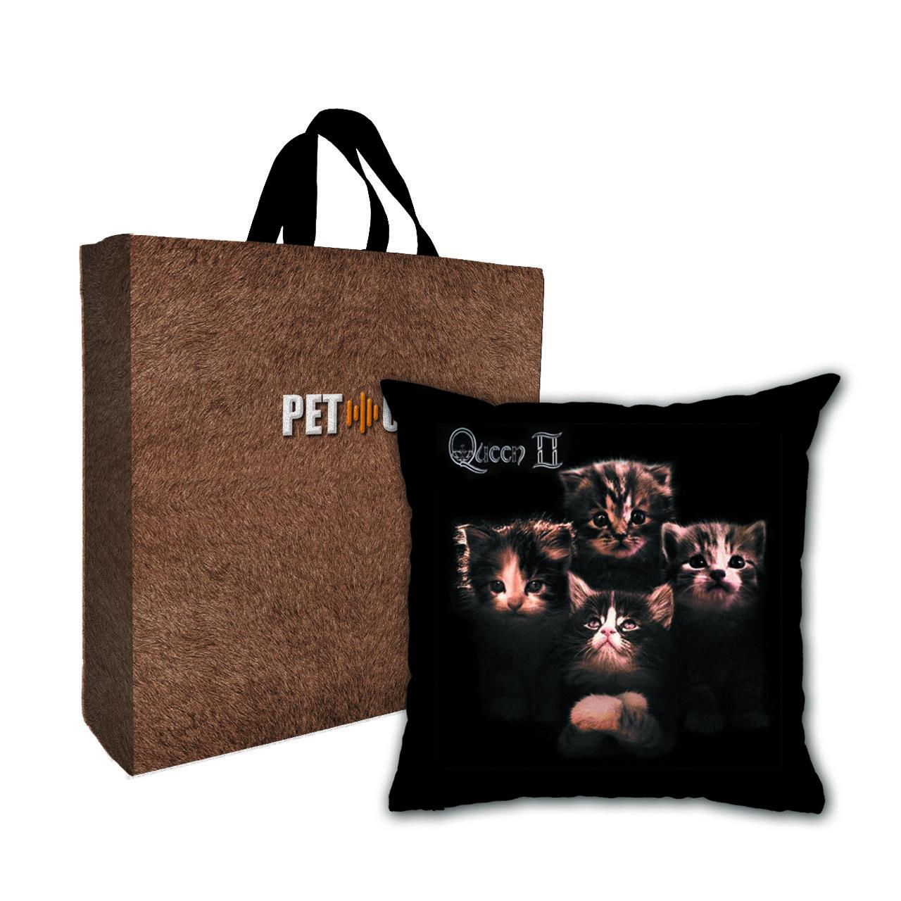 Kit Almofada & Sacola Bege Pet Use - Royal Cats II - Gatos