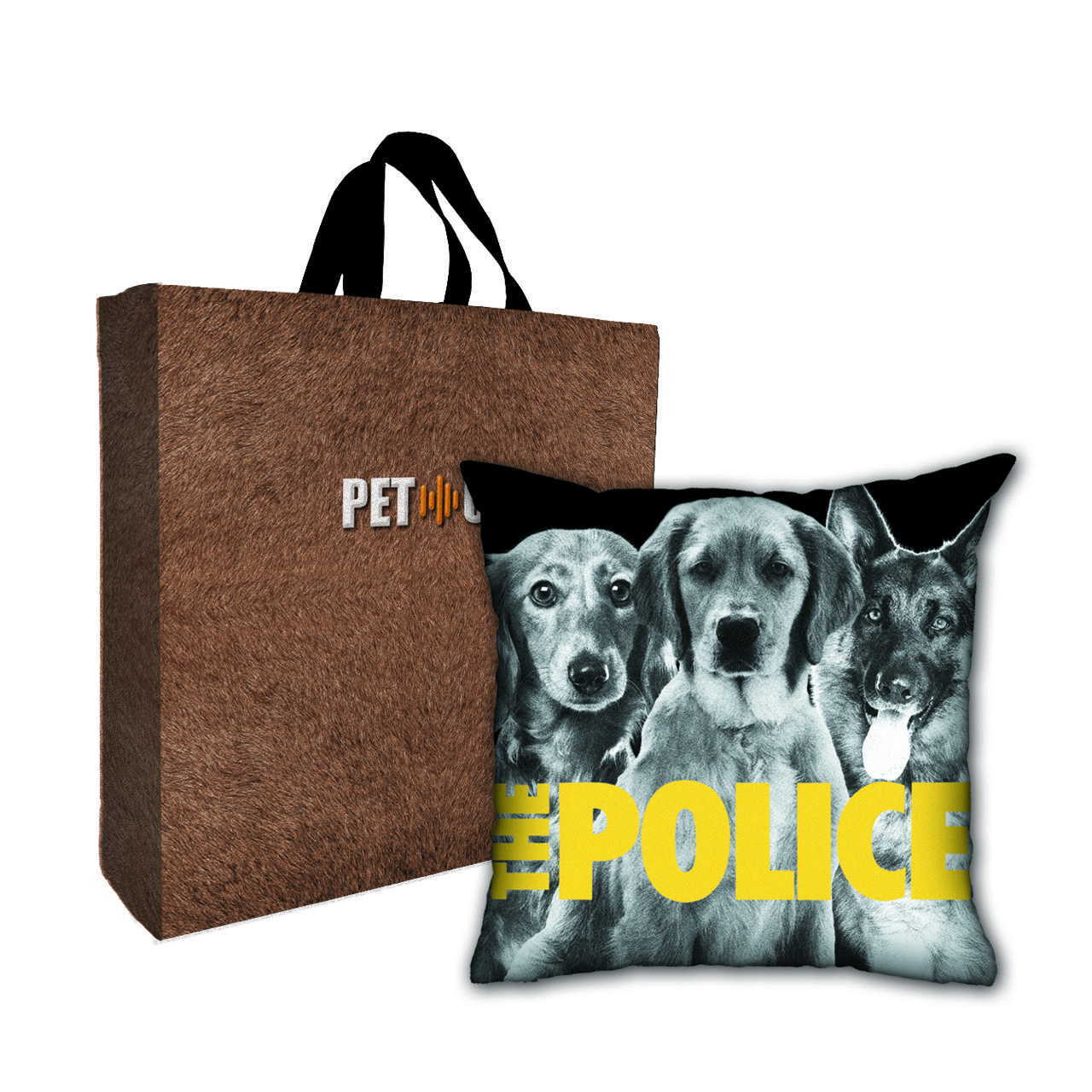 Kit Almofada & Sacola Bege Pet Use -Security Dogs - Cachorros