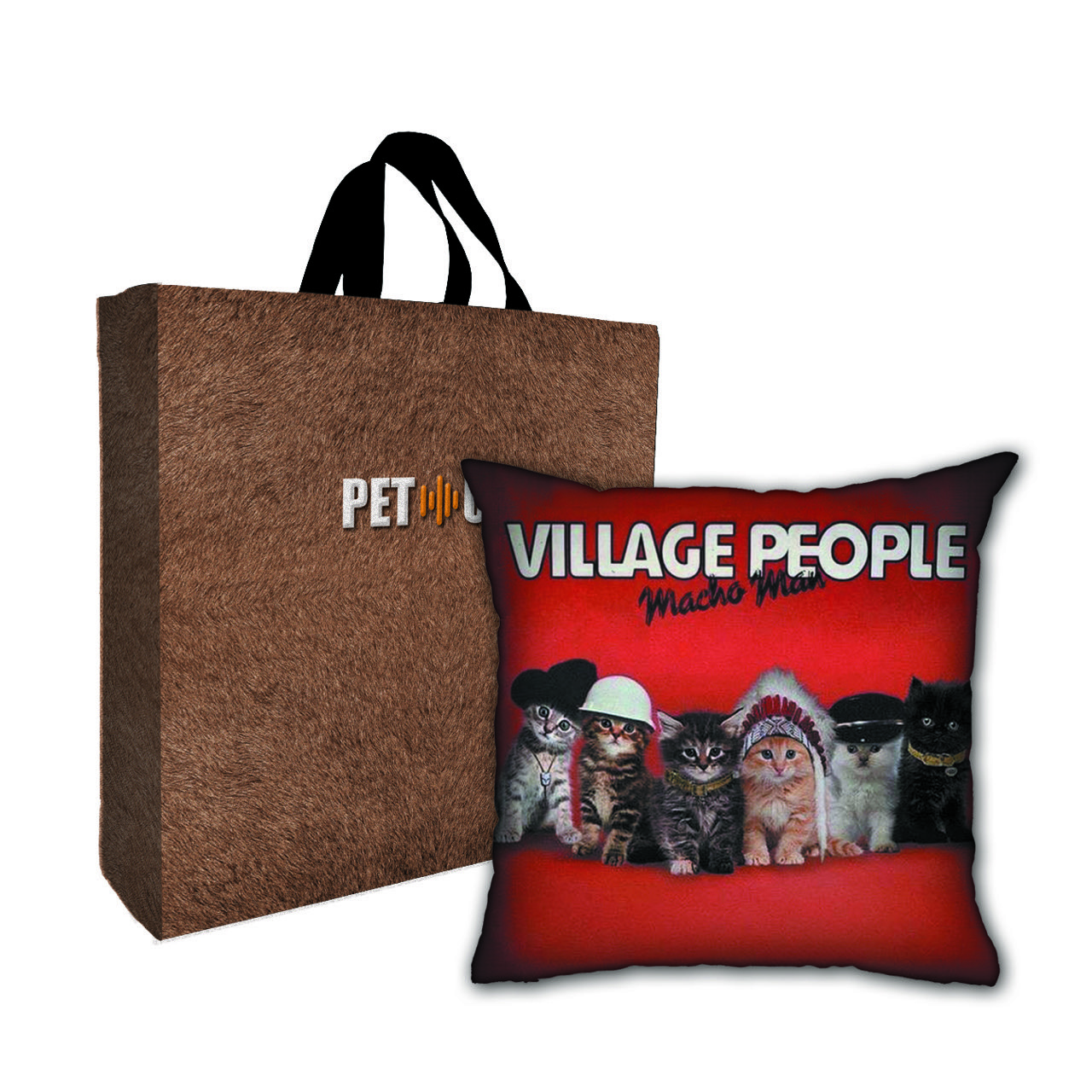 Kit Almofada & Sacola Bege Pet Use - Village Cats - Gatos
