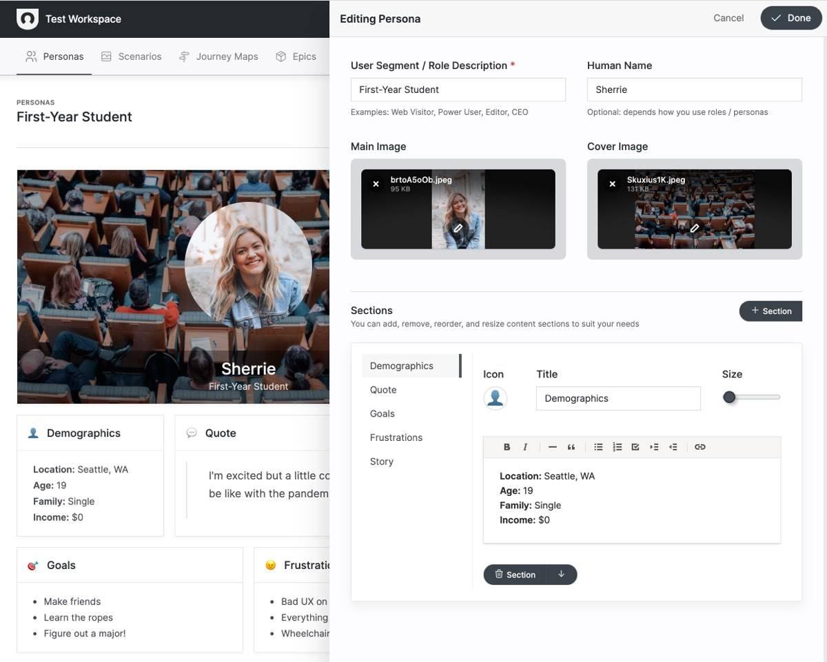 Screenshot of user persona template and creator / editor.