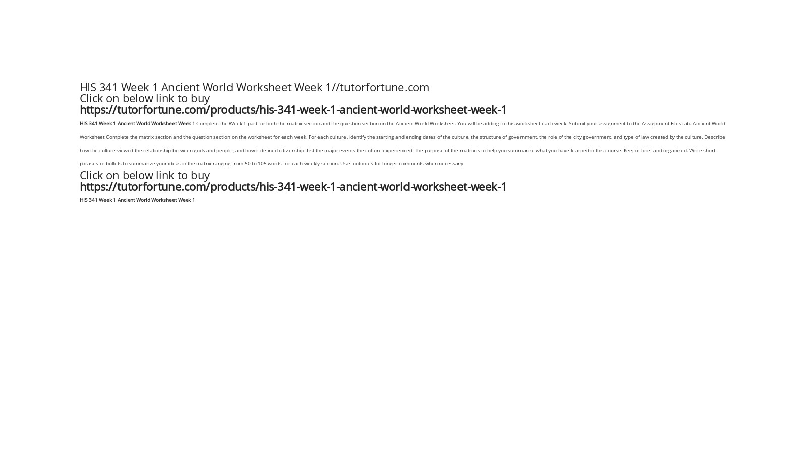 HIS 341 Week 1 Ancient World Worksheet Week 1//tutorfortune.com