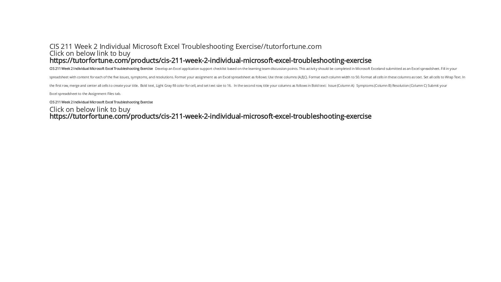 CIS 211 Week 2 Individual Microsoft Excel Troubleshooting Exercise