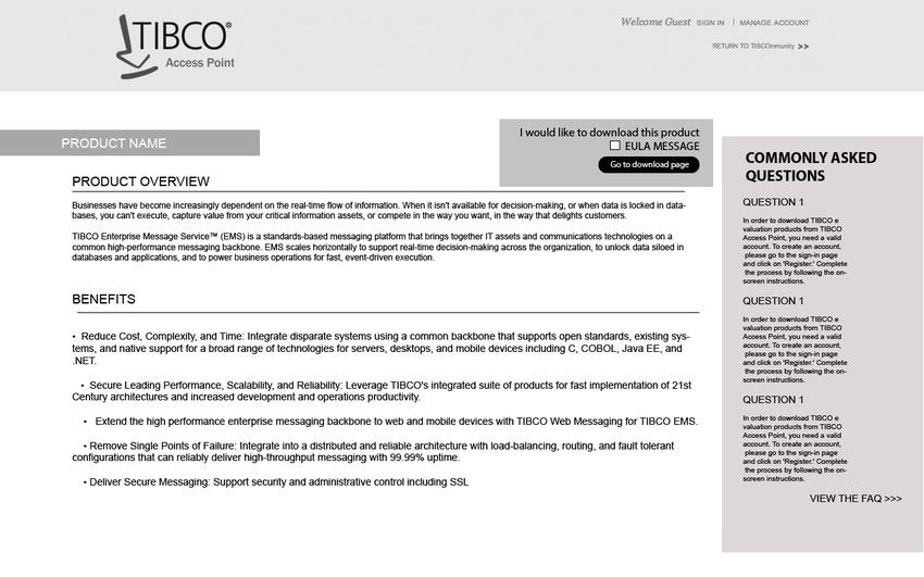 Tibco Developer Download Site Redesign