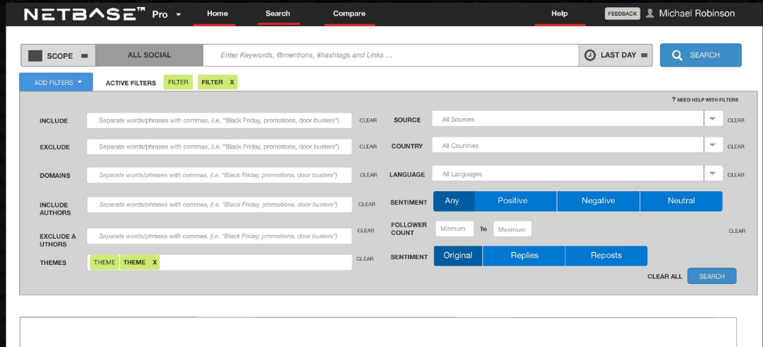 NetBase Pro: Filter and Search