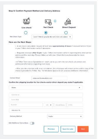 Terminations - Net Check