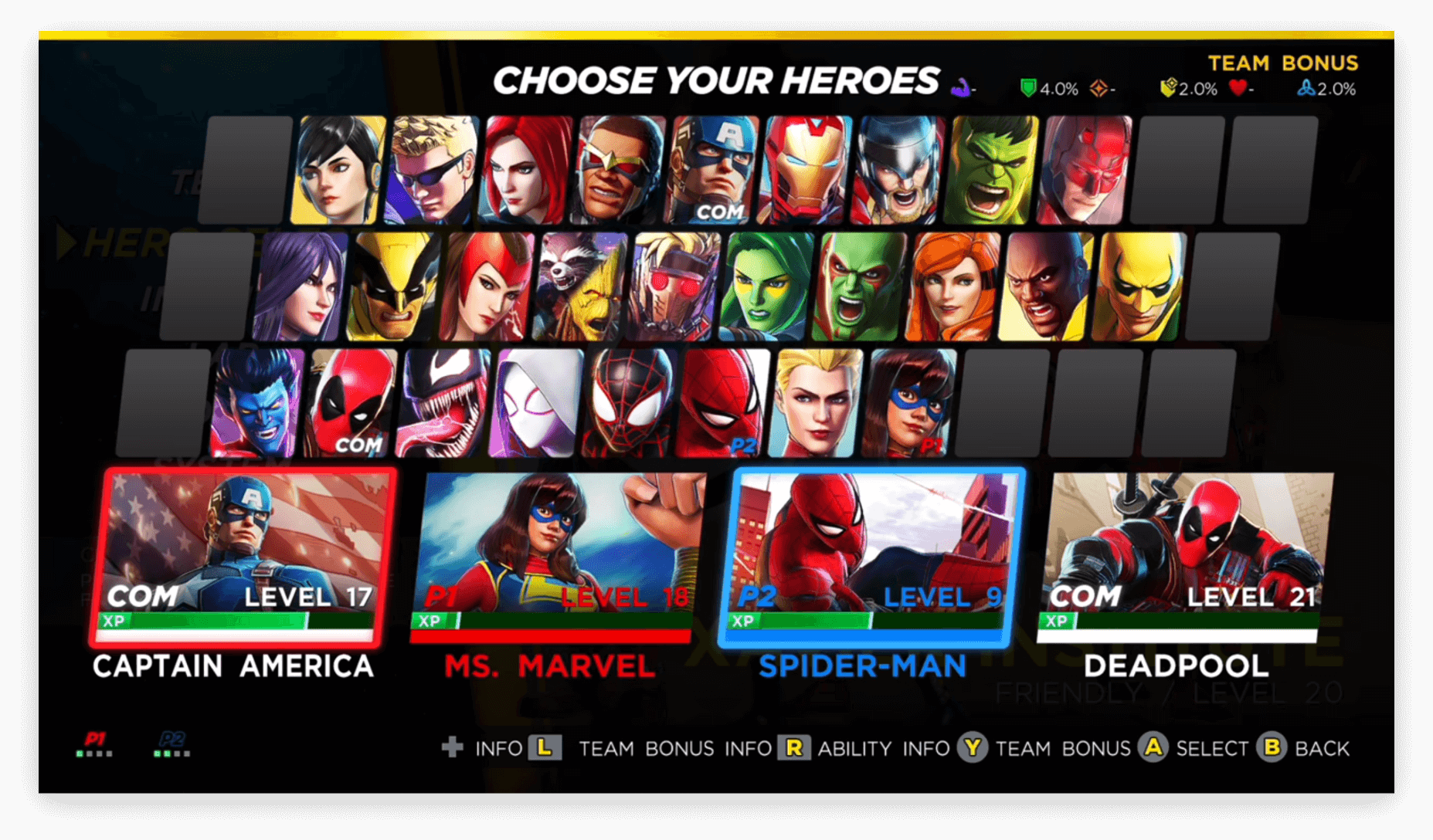 The actual character selection screen that shipped with the game.