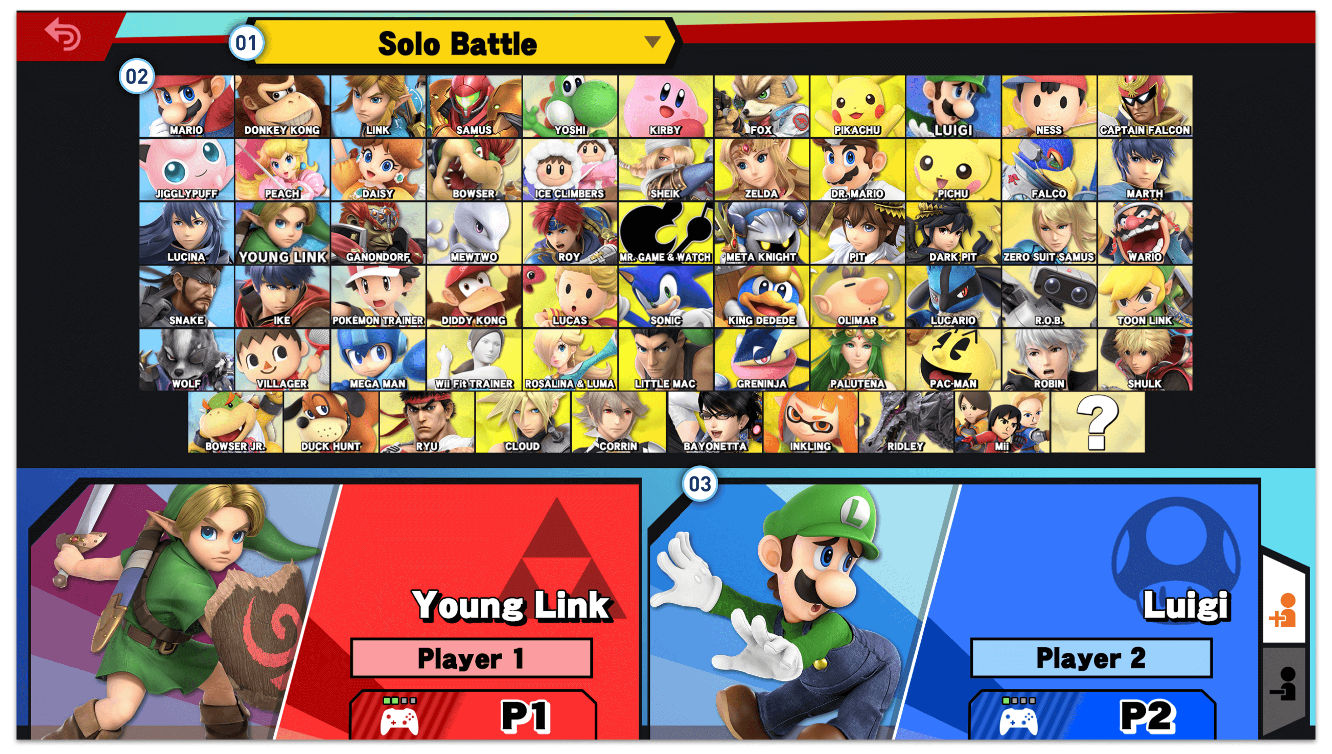 The original Smash Bros' character selection UI.