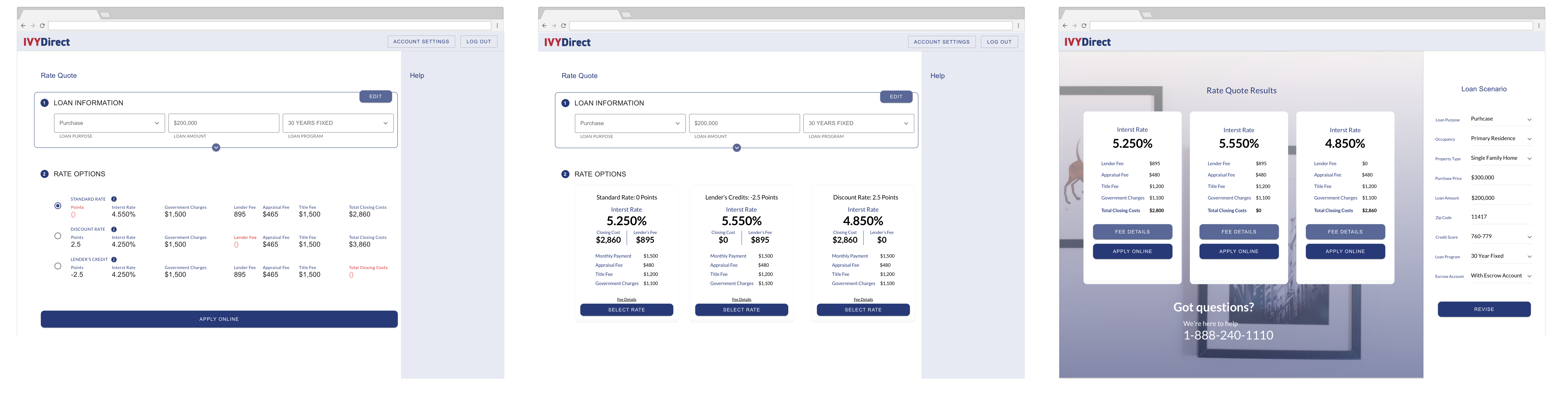 Visual Iterations of the Rate Quote Results page