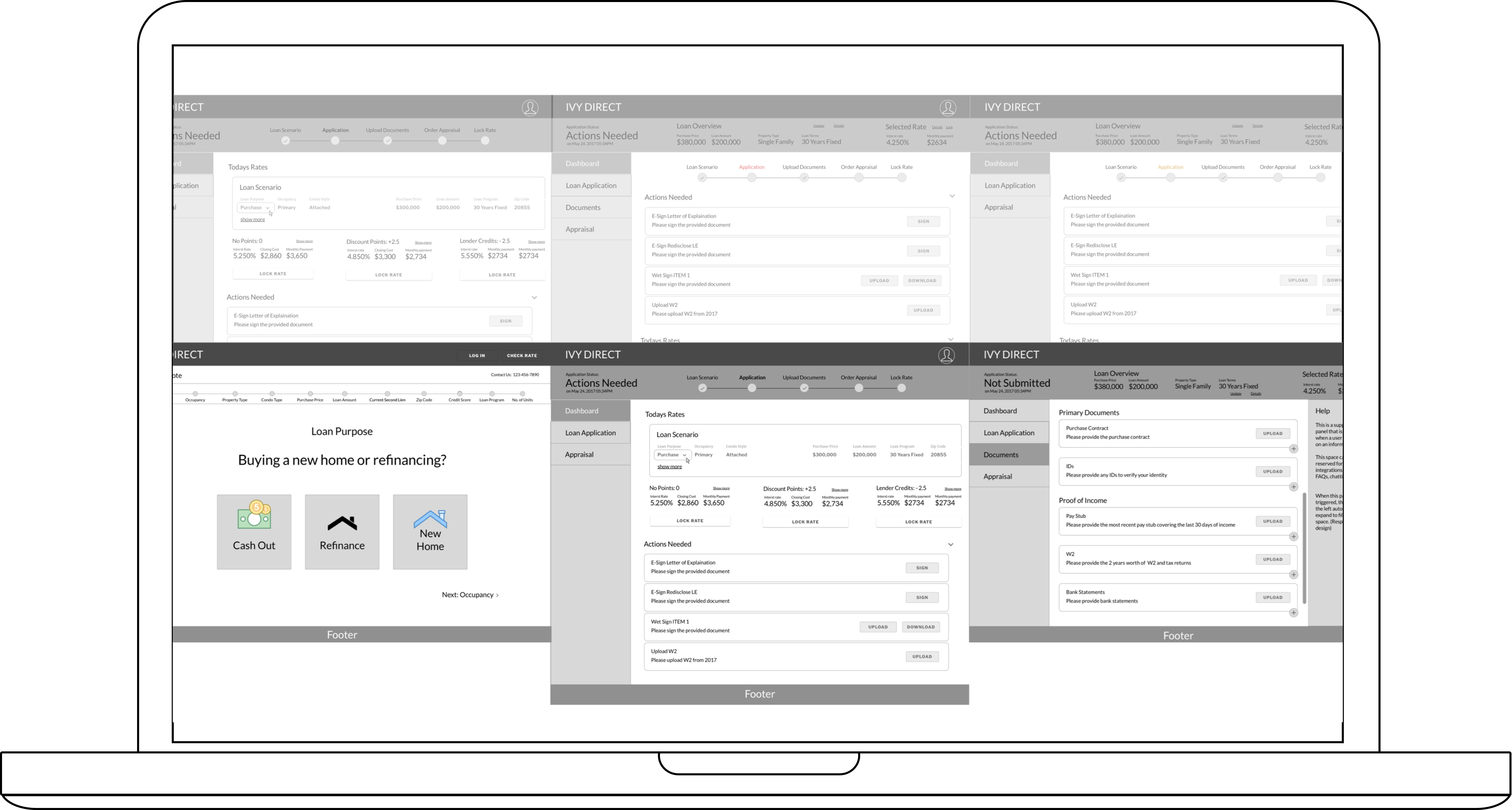Overview of wireframe iterations