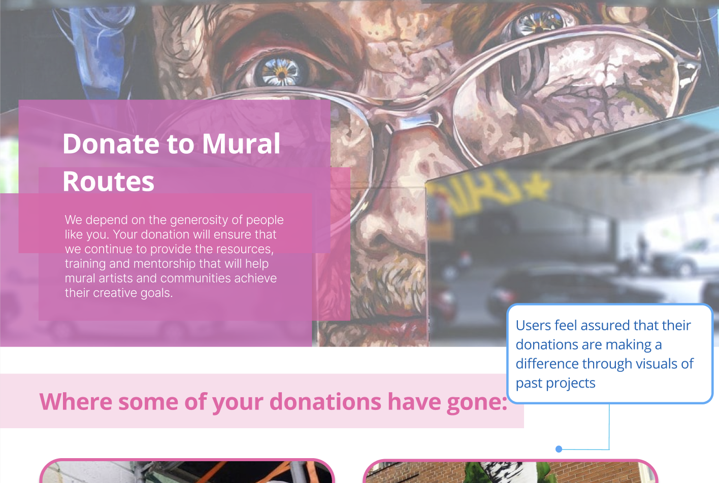 Recommended Donation Page: Includes more motivation with images and information