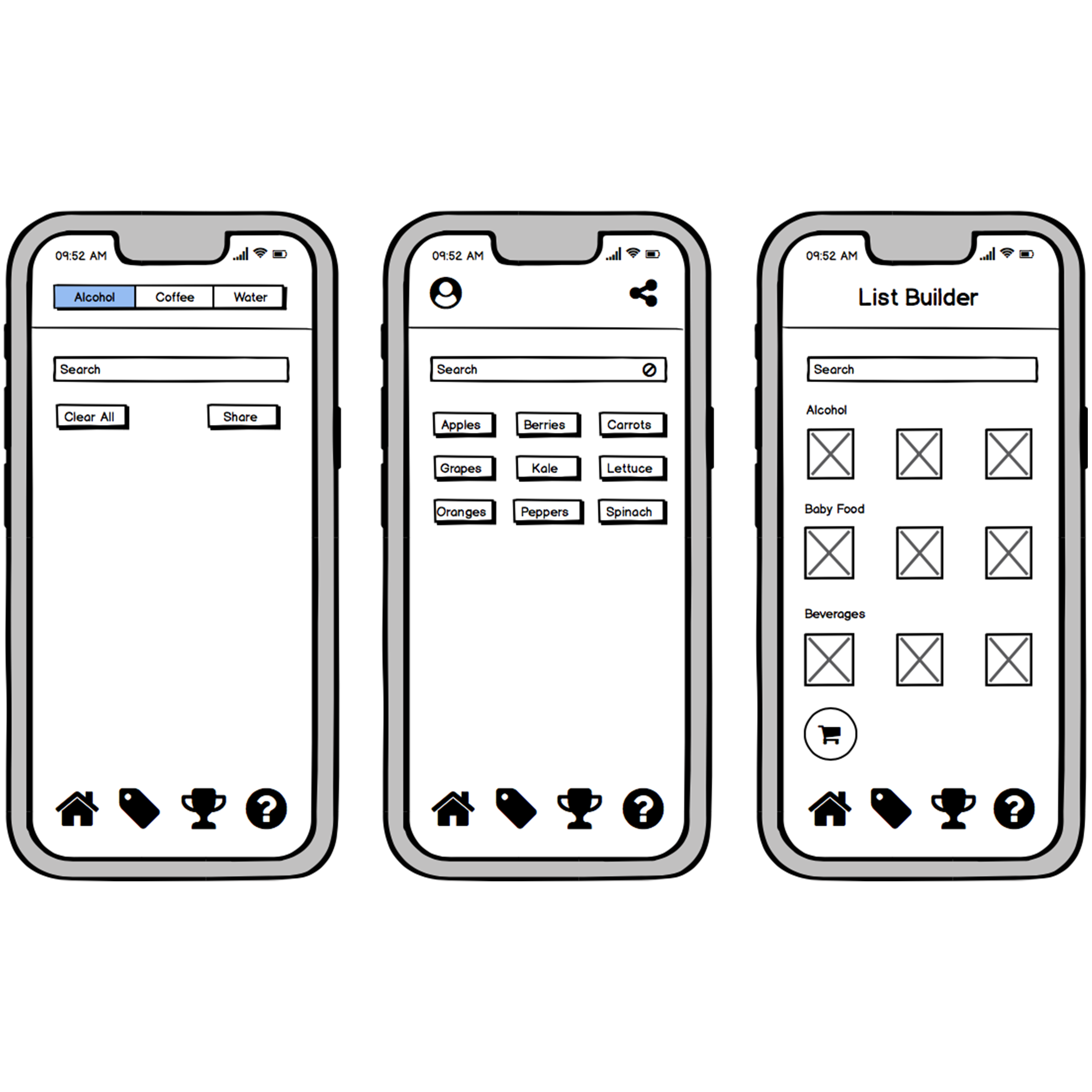 Wireframes of different iterations of the home screen