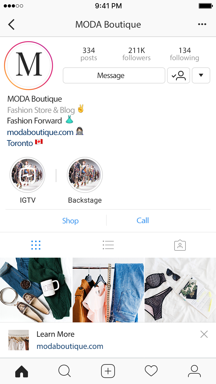 MODA Boutique Instagram Page