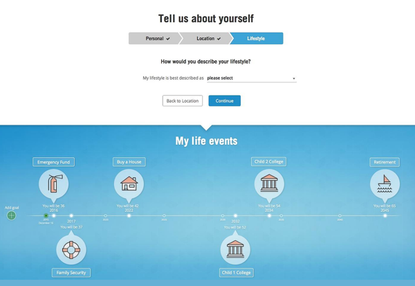 One of many early concepts user-tested for, amongst other things, the relationship questionnnaire and goal timeline.
