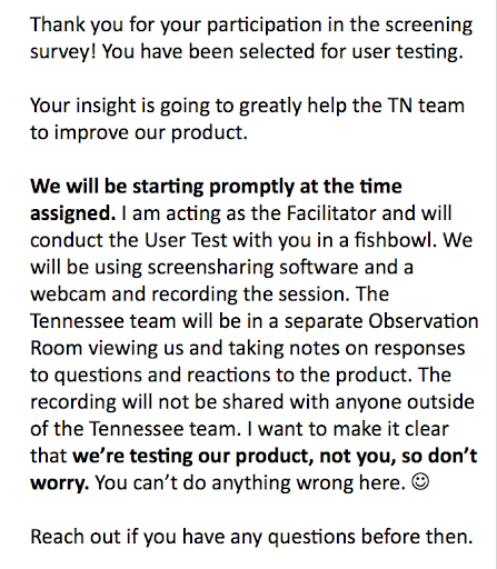 User testing email