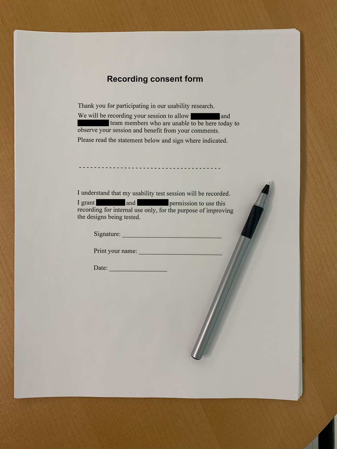 Recording consent form