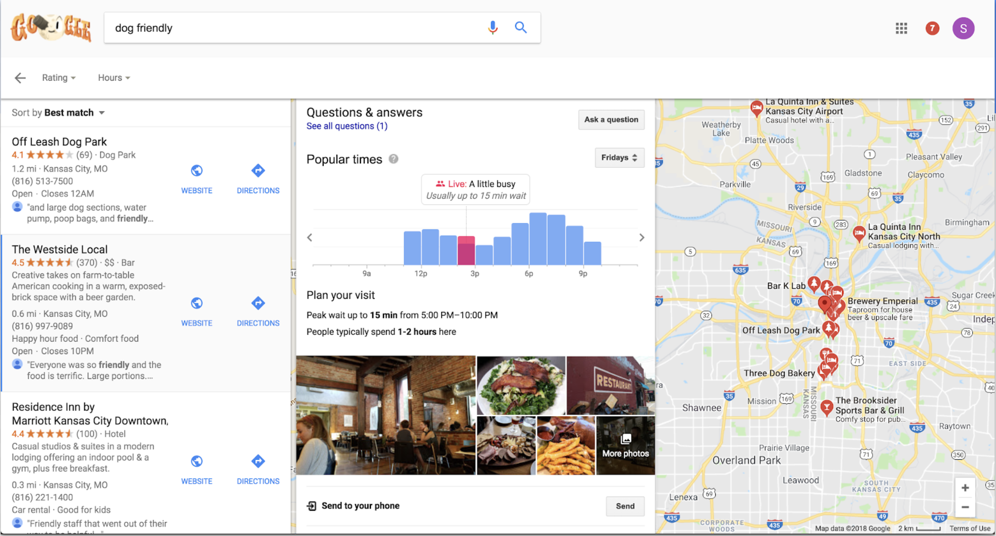 Google Desktop detailed results and map