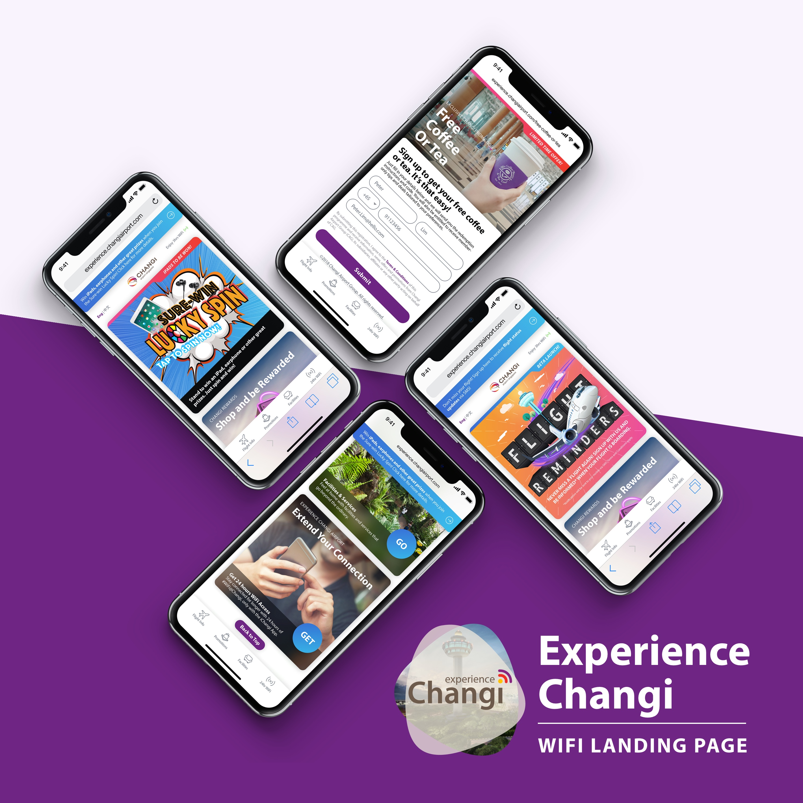 Changi Airport WiFi landing page
