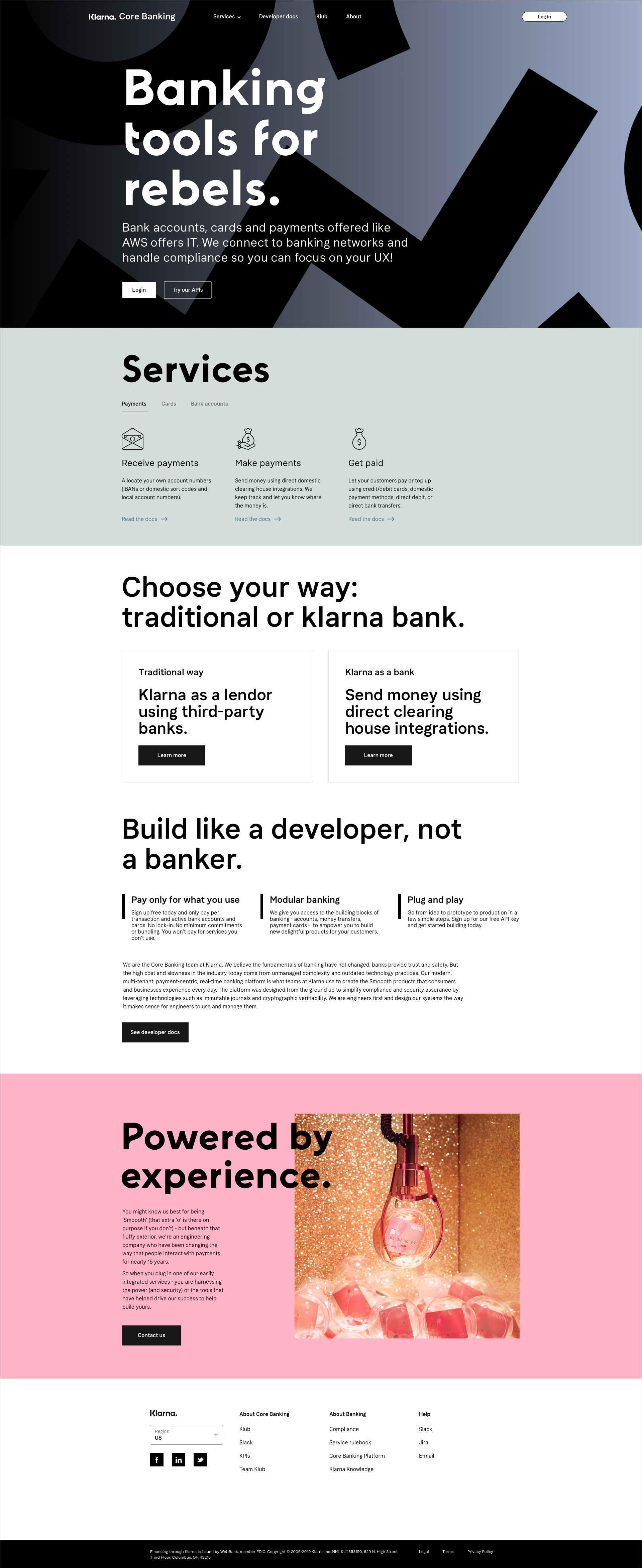 The internal landing page, slightly different to the external one.