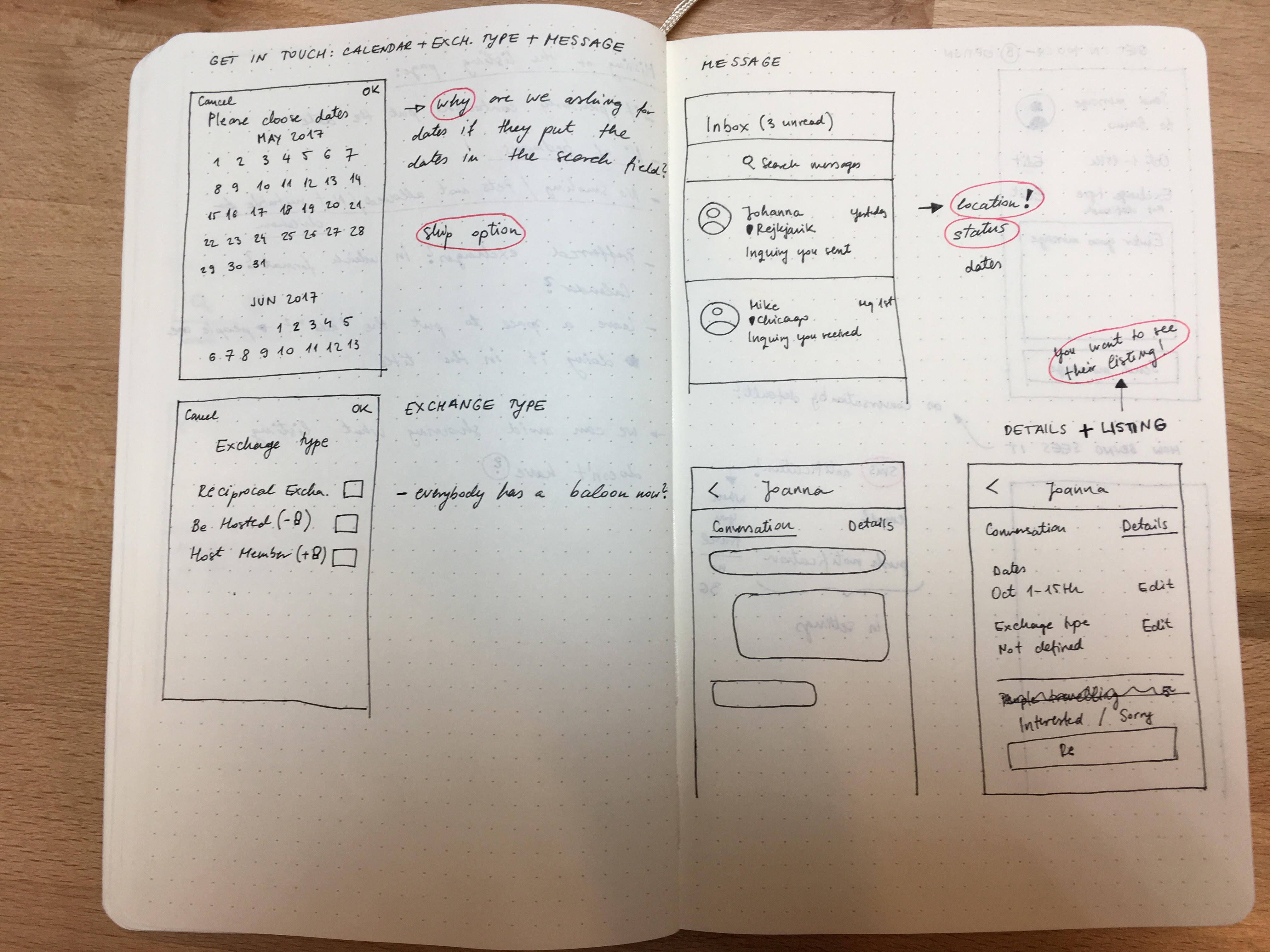 Hand drawn wireframes
