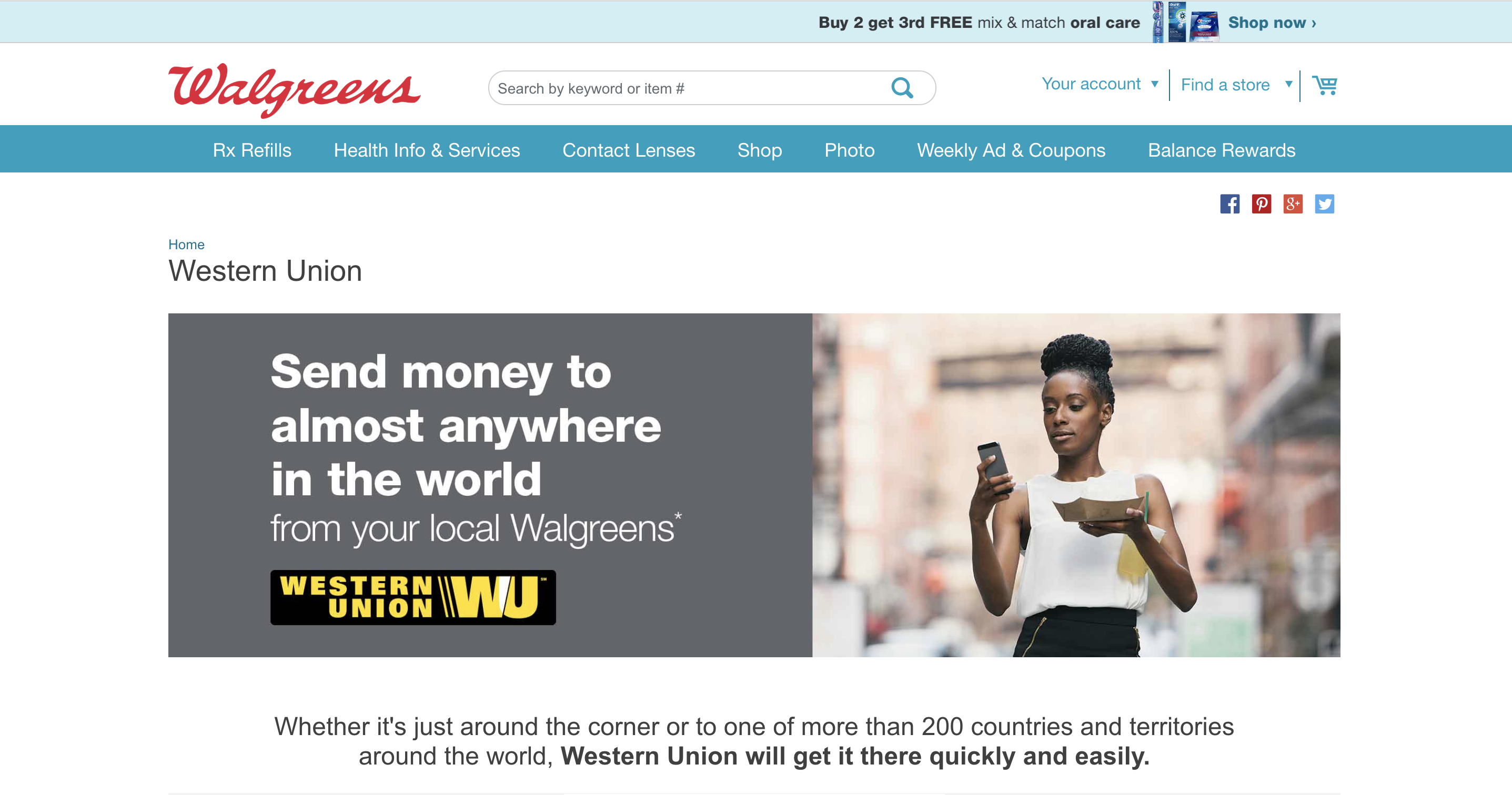 Western Union at Walgreens Landing Page