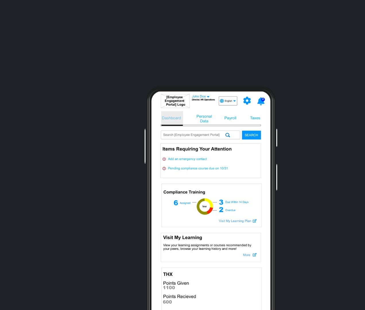 Internal Tool: Human Resources Mobile Web App