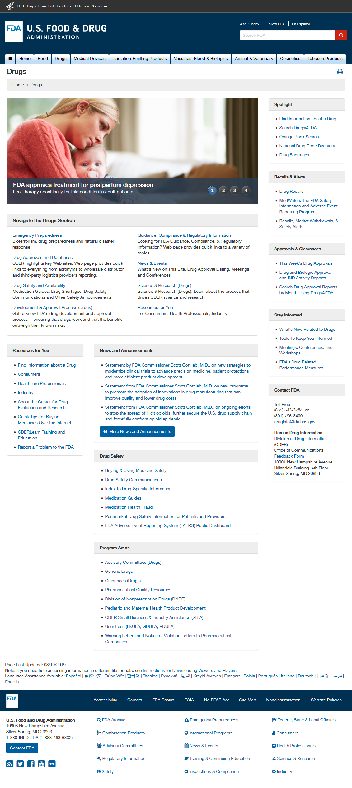 Original CDER home page: Desktop View