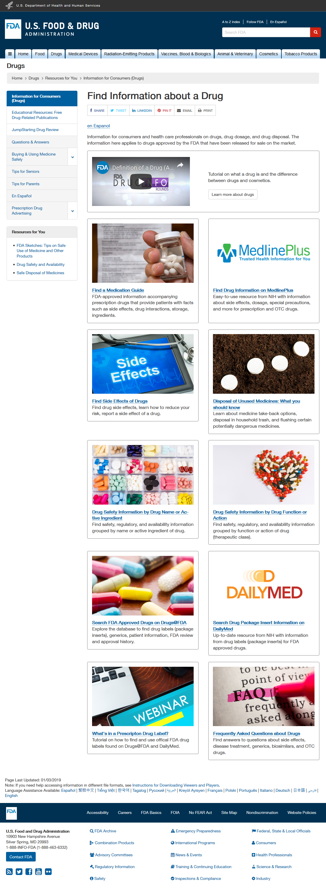 Redesigned Find Information about a Drug landing page: Desktop view
