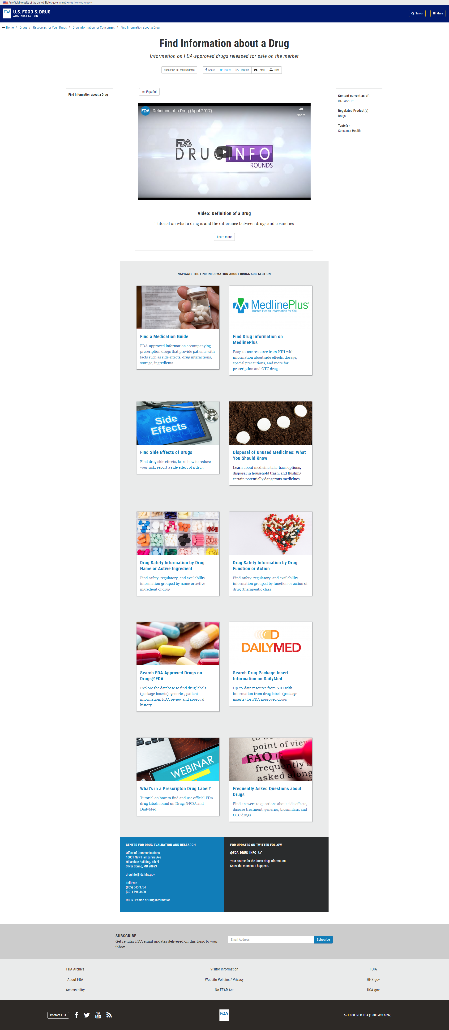 Redesigned Find Information about a Drug landing page: Desktop view (Drupal Version)