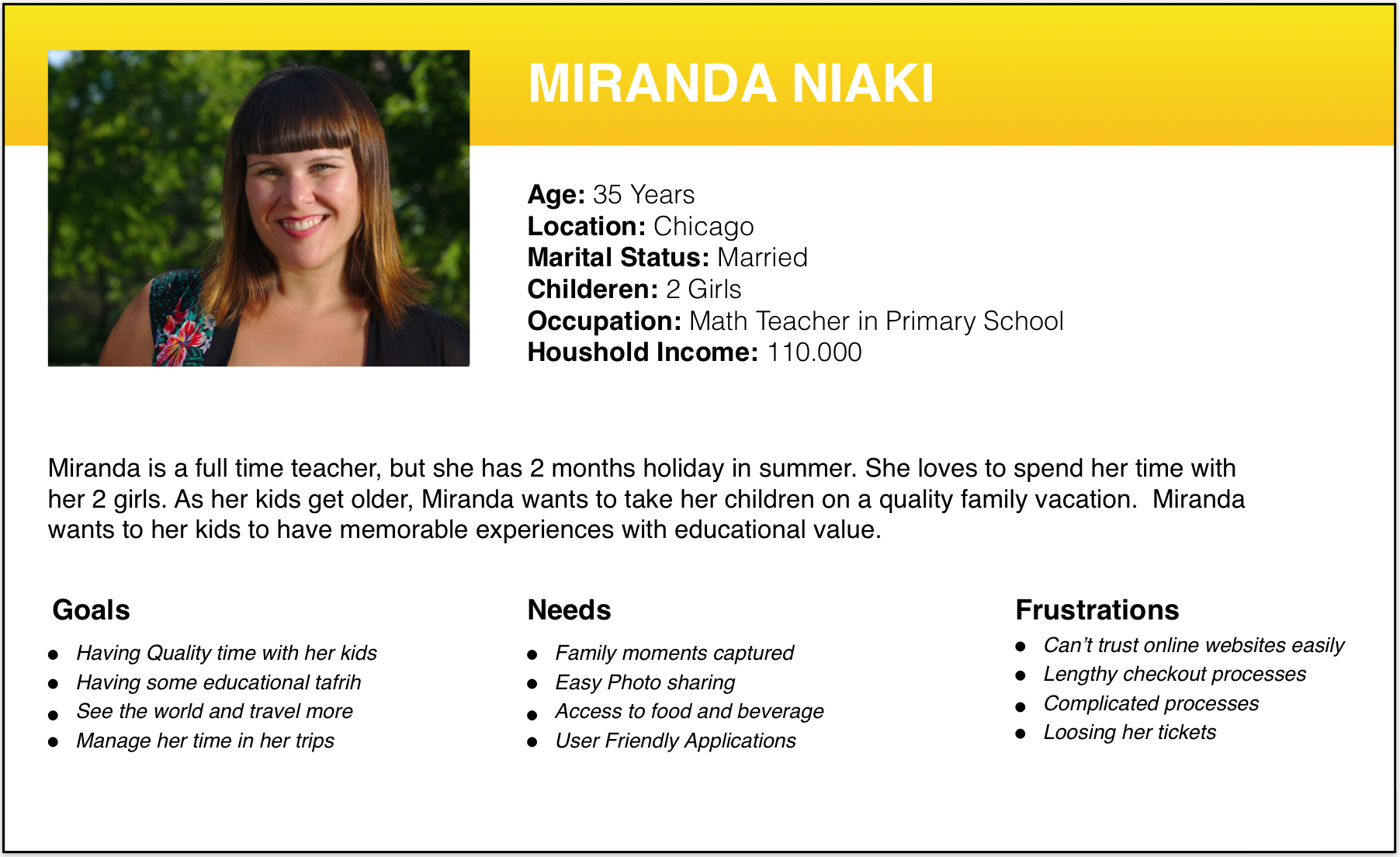 As her kids get older, Miranda wants to take her children on a quality family vacation.  Miranda wants to her kids to have memorable experiences with educational value.