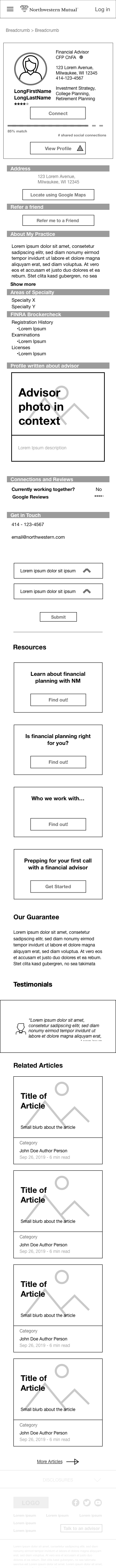 Scrollable Find a Financial Advisor Tool Wireframe