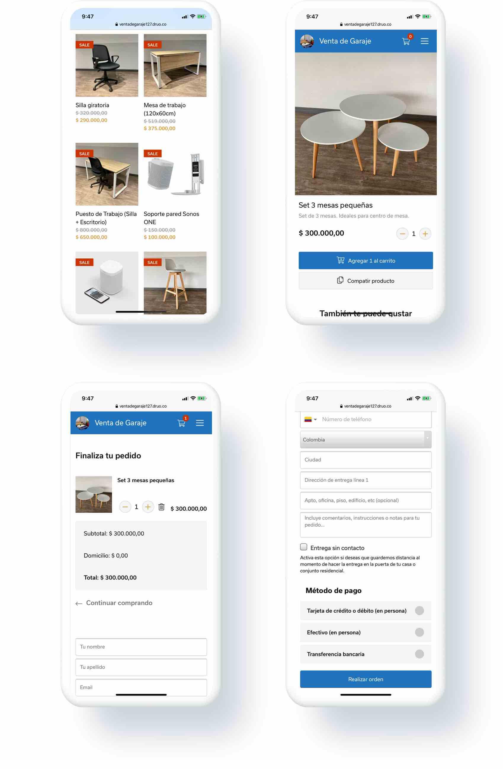 Versión responsive de la tienda online