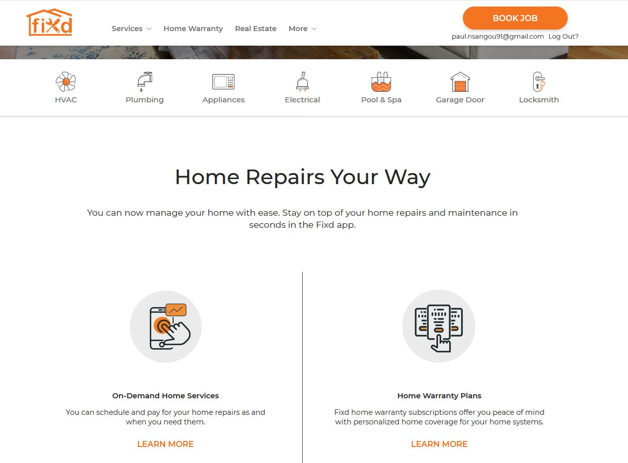 Screenshot of the home page of the Fixd Repair website.