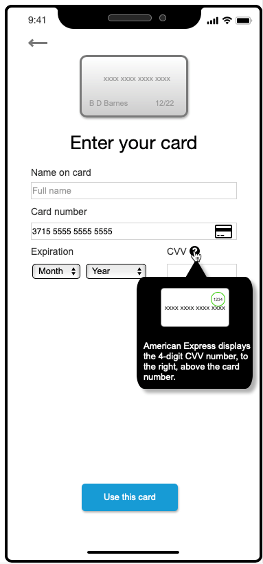 American Express-specific tooltip