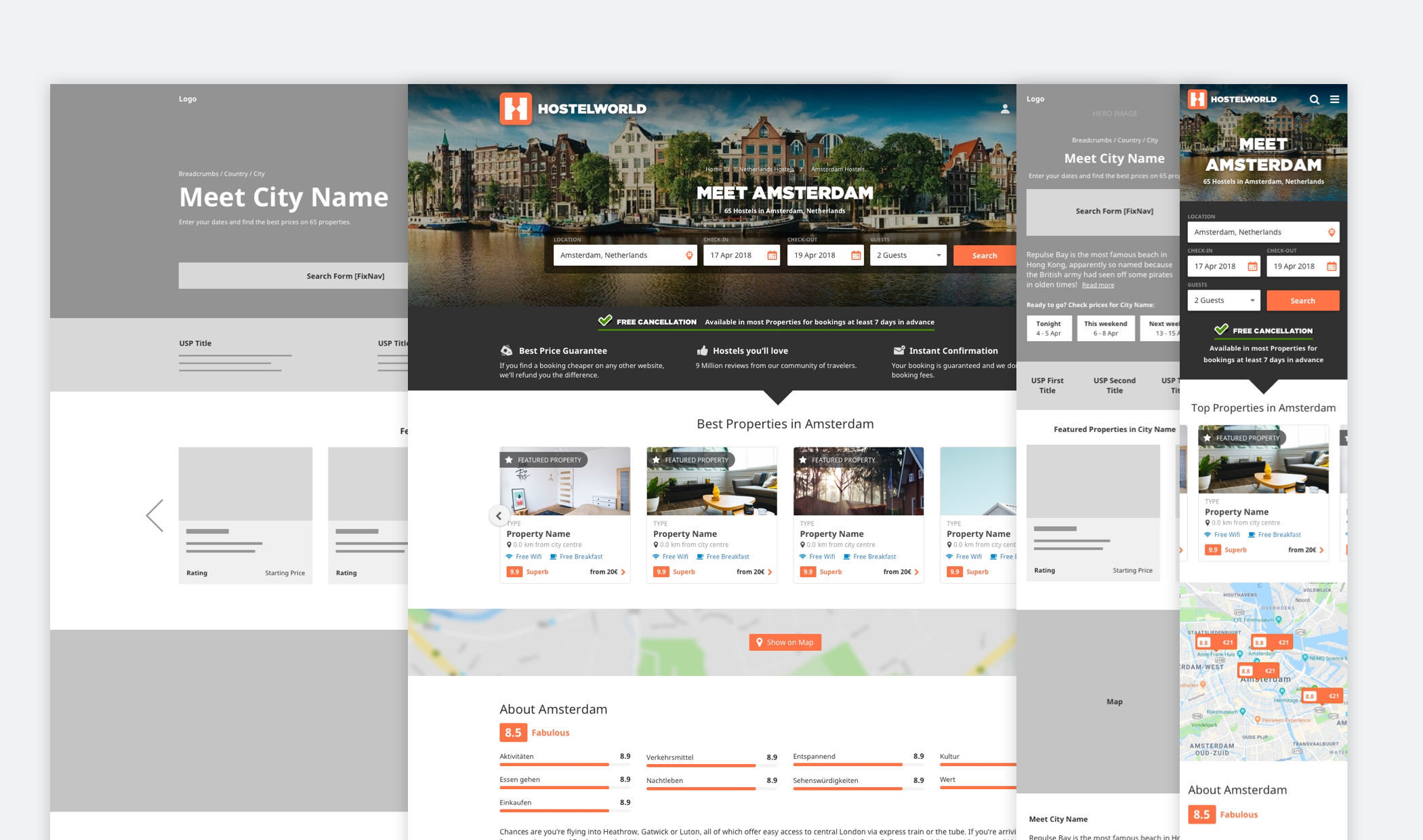 Entry Page Wireframe for Web and Mobile views