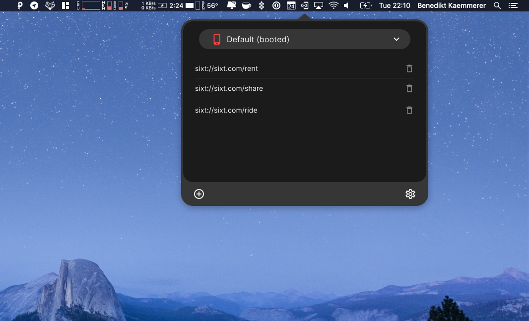 Altum status bar application on the Mac desktop