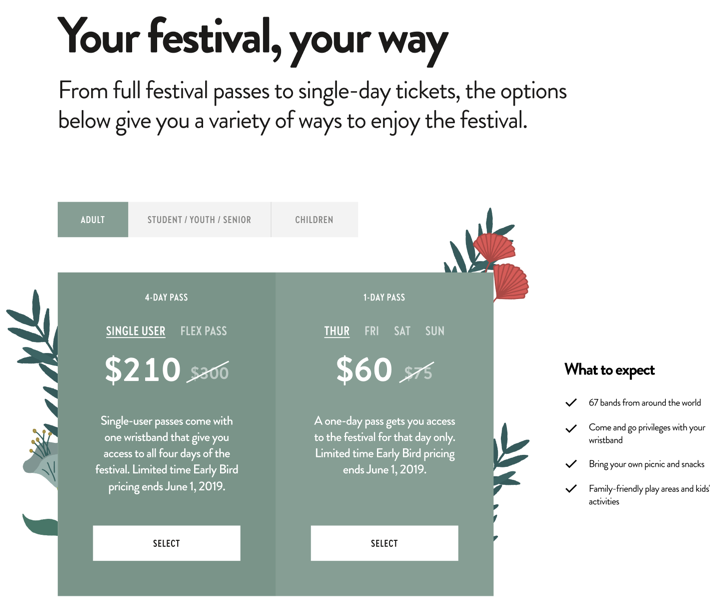 A high-fidelity wireframe of the ticket page