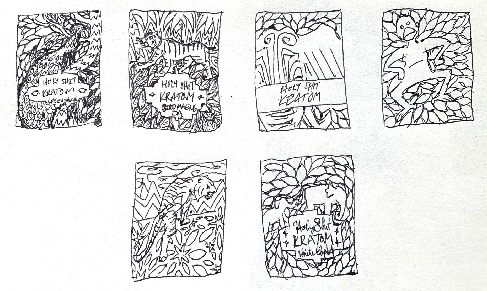 Rough sketches of packaging designs with animals.