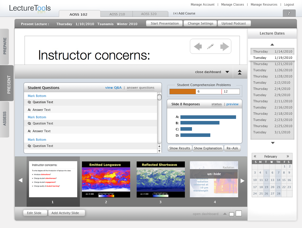 Hi-fidelity mockup of Instructor Interface.