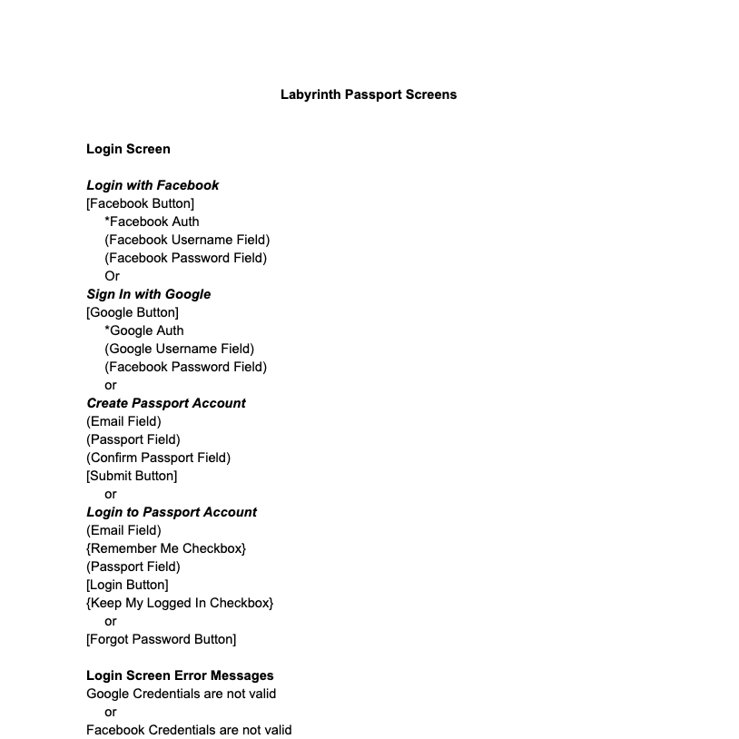 Text document capturing all of the required interface elements for the Labyrinth blockchain explorer product.