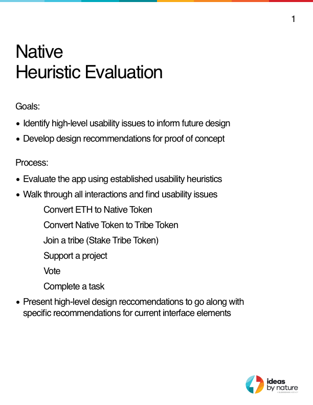 Heuristic Evaluation of the web app that was designed by the Native team. The findings from the Heuristic Evaluation helped to inform the new design of the Native platform.